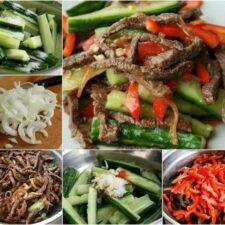 Корейская закуска из огурцов с мясом
