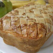 Блинный пирог с грибами и мясом